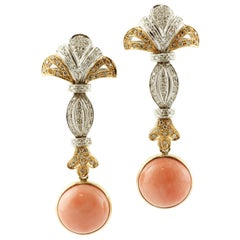 Coral Secundum, Diamonds, White and Yellow Gold, Retro Dagling Earrings