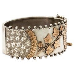 Victorian Silver and Gold Ornate Cuff Bangle