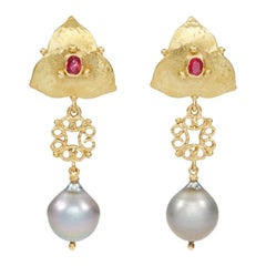 18 Carat Gold Ruby and Natural Tahitian Pearl Earrings