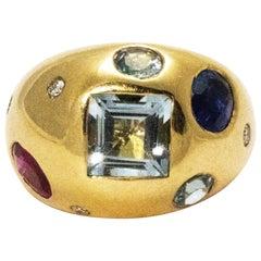 Vintage Aqua, Diamond, Sapphire and Ruby 14 Carat Ring