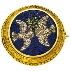 Victorian Micro Mosaic 18 Carat Gold Two Dove Brooch