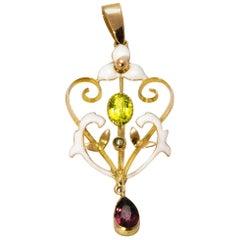 Vintage Peridot and Amethyst Enamel 9 Carat Gold Suffragette Pendant