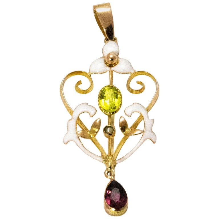 Vintage Peridot and Amethyst Enamel 9 Carat Gold Suffragette Pendant For Sale
