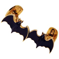 Dark Grey Hand Enameled Bat Shaped Sterling Silver Gold-Plated Cufflinks