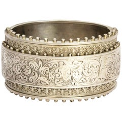 Victorian Silver Engraved Silver Bangle