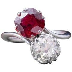 Antique Edwardian Ruby Diamond Twist Ring Platinum, circa 1915
