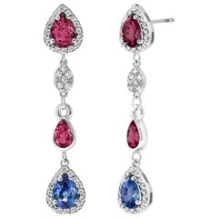 Diamond Earrings with Ruby and Sapphire Drops Weighing 4.96 Carat