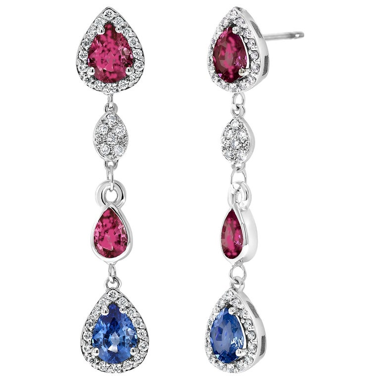Diamond Earrings with Ruby and Sapphire Drops Weighing 4.96 Carat  For Sale