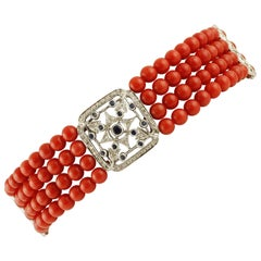Red Rubrum Coral Beaded Bracelet with Details in Diamonds and Blue Sapphires