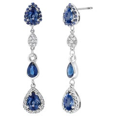 Diamond Earrings with Pear Shape Sapphire Drops Weighing 4.90 Carat