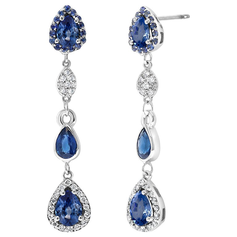 Diamond Earrings with Pear Shape Sapphire Drops Weighing 4.90 Carat For Sale