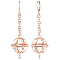 Rose Gold Large Globe Shape Diamond Hoop Earrings
