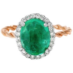 Cabochon Emerald Diamond Rose and White Gold Cluster Ring Weighing 3.42 Carat