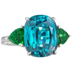 18 Karat White Gold Blue Zircon and Green Tourmaline Ring