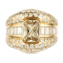 GIA Certified 2.30 Carat Sapphire Diamond Yellow Gold Cocktail Ring