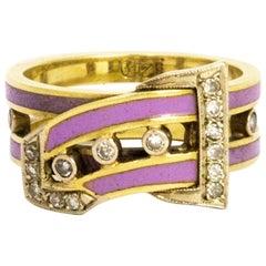 Vintage Diamond Enamel 14 Carat Gold Buckle Ring