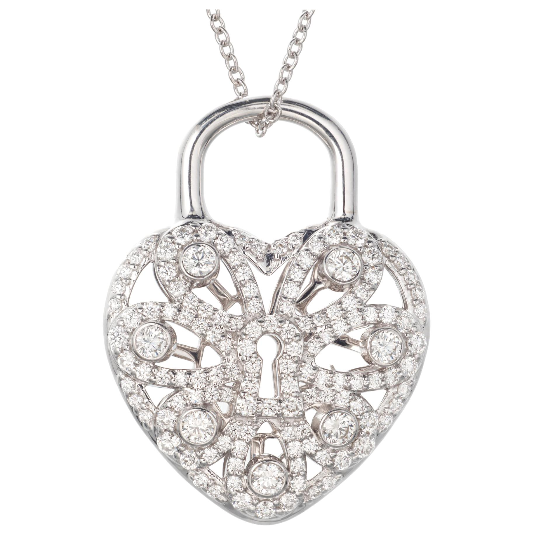 Tiffany & Co .90 Carat Diamond White Gold Heart Locket Pendant Necklace