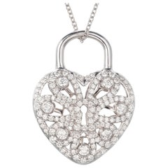 Tiffany & Co .90 Carat Diamond White Gold Heart Locket Pendant Necklace