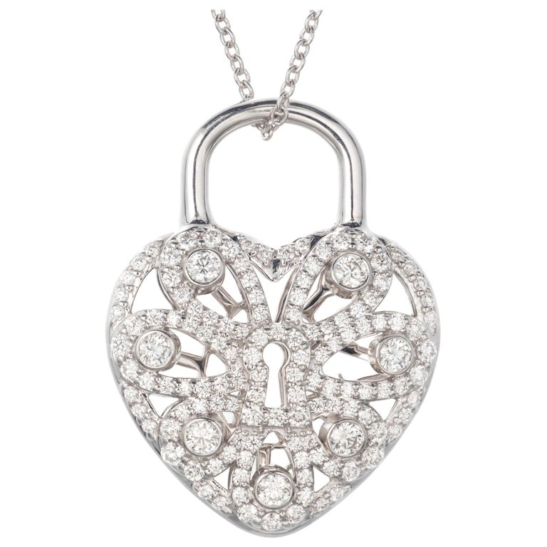 e311686e8 Tiffany & Co .90 Carat Diamond White Gold Heart Locket Pendant Necklace For  Sale