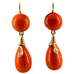 """Mediterranean Red Coral White Diamond Yellow Gold Lever-Back """"Snake"""" Earrings"""