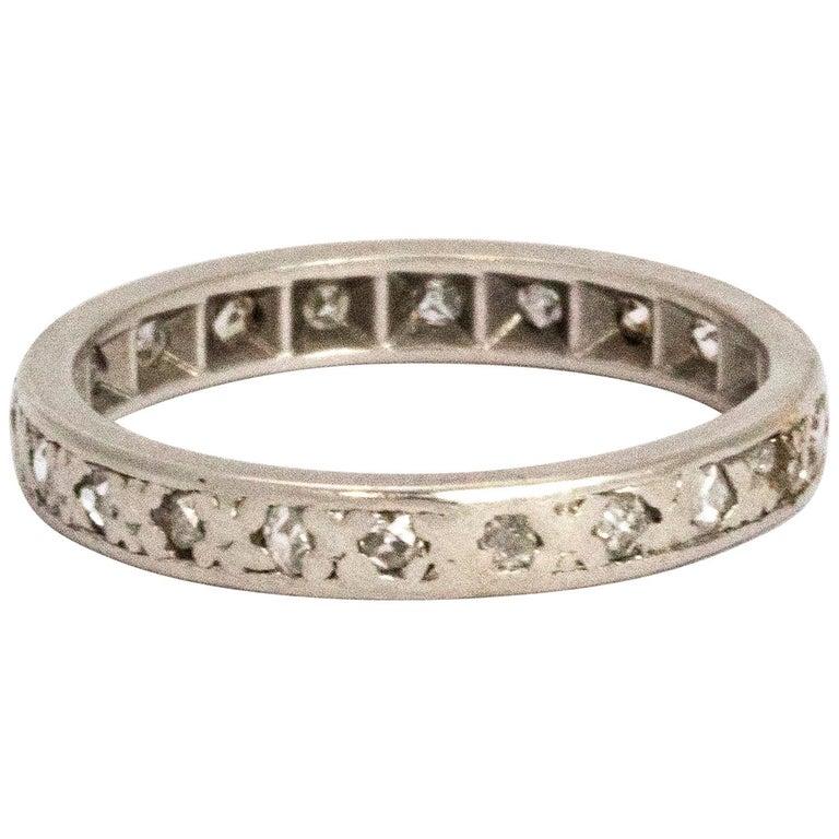 Vintage Diamond Platinum Eternity Ring For Sale