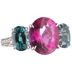 18 Karat White Gold Pink and Mint Tourmaline Ring