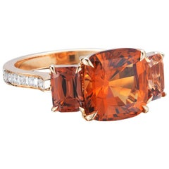 18 Karat Rose Gold Hessonite Garnet and Malaya Garnet Ring