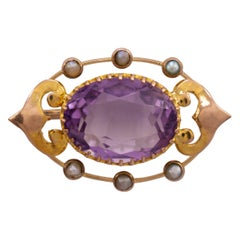 Art Nouveau Gold Amethyst & Pearl Lace Pin Brooch, circa 1900