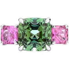 18 Karat White Gold Green and Pink Tourmaline Ring