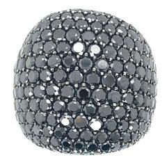 18K White Gold 14.37ct Black Diamond Dome Ring