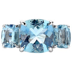 Paolo Costagli 18 Karat White Gold Aquamarine and Diamond Ring