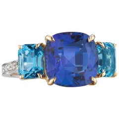 18 Karat Gold Tanzanite and Aquamarine Ring