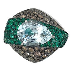 18K White Gold 5.48ct Aquamarine, Emerald, and Diamond Ring