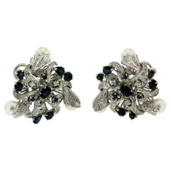 Pearls 18 Karat White Gold Diamonds and Sapphires Drop Earrings