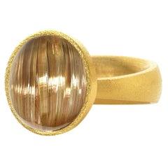 Devta Doolan Rare Cat's-Eye Golden Rutilated Quartz One of a Kind Gold Ring