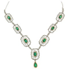 Colombian Emeralds 18 Karat White Gold Diamonds Drop Necklace