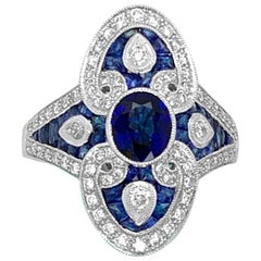18K White Gold 2.00ct Sapphire and Diamond Ring