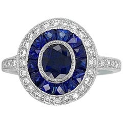 14K White Gold 1.61ct Sapphire and Diamond Ring