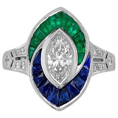 18K White Gold .81ct Diamond, Sapphire and Emerald Ring