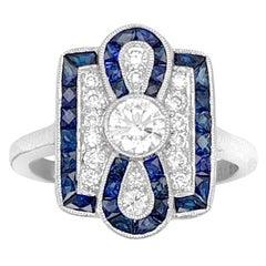 18K White Gold 0.95ct Sapphire and Diamond Ring
