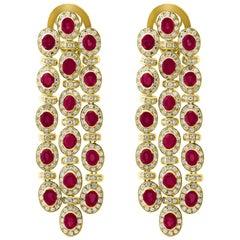35 Carat Natural  Burma Ruby & Diamond  Hanging / Chandelier Earrings 18 K Gold
