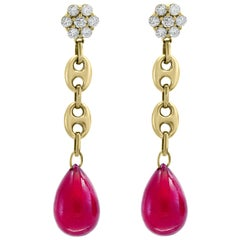 45 Carat Ruby Drop and Diamond Hanging/Chandelier Earrings 14 Karat Yellow Gold