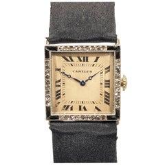 Cartier Ladies 1920s Platinum Diamond and Onyx EWCC Wristwatch