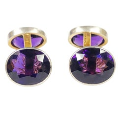 Antique Black Star and Frost Platinum Gold and Amethyst Cufflinks