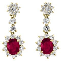 5.5 Carat Ruby and 5 Carat Diamond Hanging or Chandelier Earrings 18 Karat Gold