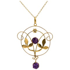 Antique Amethyst Pearl Circular Flower & Leaf Pendant Necklace, circa 1900