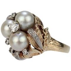 14 Karat Gold Diamond and Pearl Cluster Organic Modern Cocktail Ring