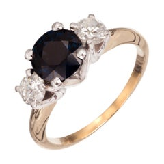 Peter Suchy GIA Certified 1.89 Carat Sapphire Diamond Gold Engagement Ring