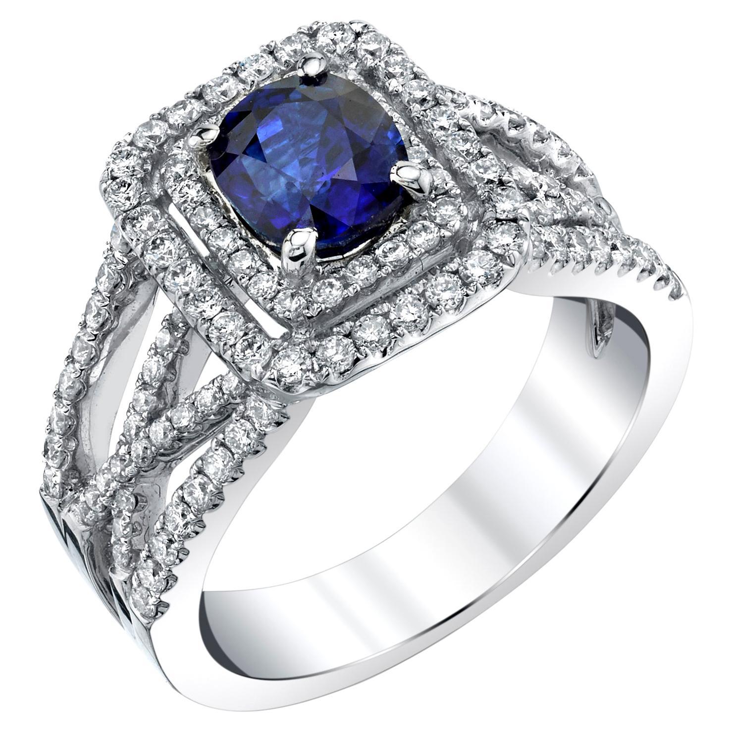 1.69 ct. Blue Sapphire, 18k White Gold, Diamond Set Wraparound Engagement Band