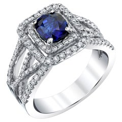 1.69 Carat Oval Royal Blue Sapphire and Diamond 18 Karat White Gold Ring
